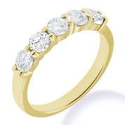 Charles & Colvard® Forever Classic® Round Brilliant Cut Moissanite 5-Stone Basket Wedding Band in 14k Yellow Gold - JC-WB 500-MS-14Y