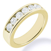Charles & Colvard® Forever Classic® Round Brilliant Cut Moissanite Channel-Set 7-Stone Wedding Band in 14k Yellow Gold - JC-WB 1140-MS-14Y