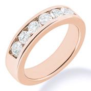 Charles & Colvard® Forever Brilliant® Round Cut Moissanite Channel-Set 7-Stone Wedding Band in 14k Rose Gold - JC-WB 1140-FB-14R