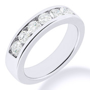 Charles & Colvard® Forever ONE® Round Brilliant Cut Moissanite Channel-Set 7-Stone Wedding Band in 14k White Gold - JC-WB 1140-FO-14W