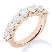 Charles & Colvard® Forever Classic® Round Brilliant Cut Moissanite 7-Stone Open U-Prong Wedding Band in 14k Rose Gold - JC-WB 1267-MS-14R