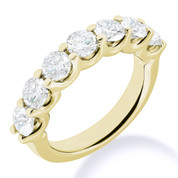 Charles & Colvard® Forever Classic® Round Brilliant Cut Moissanite 7-Stone Open U-Prong Wedding Band in 14k Yellow Gold - JC-WB 1267-MS-14Y