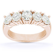 Charles & Colvard® Forever Brilliant® Round Cut Moissanite 5-Stone Shared-Prong Wedding Band in 14k Rose Gold - US-WB145-5-FB-14R