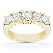 Charles & Colvard® Forever Brilliant® Round Cut Moissanite 5-Stone Wedding Band in 14k Yellow Gold - US-WB145-5-FB-14W