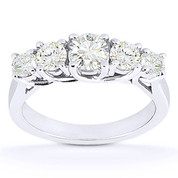 Charles & Colvard® Forever Classic® Round Brilliant Cut Moissanite 5-Stone Trellis Wedding Band in 14k White Gold - US-WB545-MS-14W