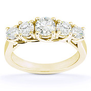 Charles & Colvard® Forever Classic® Round Brilliant Cut Moissanite 5-Stone Trellis Wedding Band in 14k Yellow Gold - US-WB545-MS-14Y