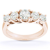 Charles & Colvard® Forever Brilliant® Round Cut Moissanite 5-Stone Trellis Wedding Band in 14k Rose Gold - US-WB545-FB-14R