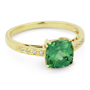 2.17ct Cushion Cut Lab-Created Green Spinel & Round Cut Diamond Engagement / Promise Ring in 14k Yellow Gold