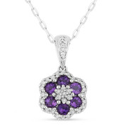0.54ct Round Cut Purple Amethyst & Diamond Pave Flower Pendant & Chain Necklace in 14k White Gold