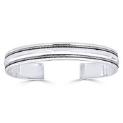 Open Cuff Twist-Rope-Detail Adjustable Bangle in Solid .925 Sterling Silver - ST-BG001-SLP