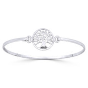Tree-of-Life 16mm Charm Bangle Bracelet in Solid .925 Sterling Silver - ST-BG002-SLP