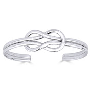 Love Knot Charm Open Cuff Adjustable Bangle in .925 Sterling Silver - ST-BG004-SLP