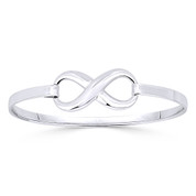 Infinity Symbol / Figure 8 Charm Bangle Bracelet in Solid .925 Sterling Silver - ST-BG007-SLP