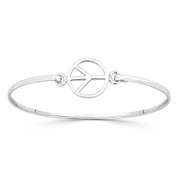 Peace Sign 15mm Circle Charm Bangle Bracelet in Solid .925 Sterling Silver - ST-BG010-SLP