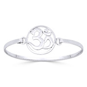 Om Symbol Hindu / Buddhist Charm Bangle Bracelet in Solid .925 Sterling Silver - ST-BG013-SLP