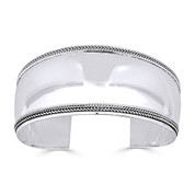 Polished & Rib-Detailed Adjustable Open Wide-Cuff Bangle in .925 Sterling Silver - ST-BG016-SLP
