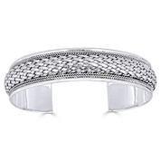 Basket-Weave & Braided Rope Detail 15mm Open-Cuff Bangle in Solid .925 Sterling Silver - ST-BG018-SLP