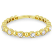 0.18ct Round Cut Diamond Milgrain Bezel Stackable Anniversary Ring / Wedding Band in 18k Yellow Gold - AM-DR13393