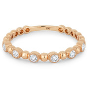 0.18ct Round Cut Diamond Milgrain Bezel Stackable Anniversary Ring / Wedding Band in 18k Rose Gold - AM-DR13394