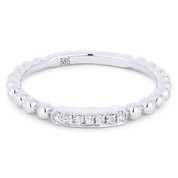 0.05ct Round Cut Diamond Bar & Ball-Bead-Band Stackable Anniversary Ring in 14k White Gold -  AM-DR13419