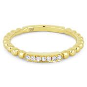 0.05ct Round Cut Diamond Bar & Ball-Bead-Band Stackable Anniversary Ring in 14k Yellow Gold - AM-DR13420