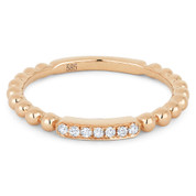 0.05ct Round Cut Diamond Bar & Ball-Bead-Band Stackable Anniversary Ring in 14k Rose Gold - AM-DR13421