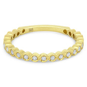 0.15ct Round Cut Diamond Milgrain Bezel Stackable Anniversary Ring / Wedding Band in 14k Yellow Gold - AM-DR11654