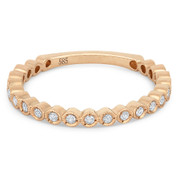 0.15ct Round Cut Diamond Milgrain Bezel Stackable Anniversary Ring / Wedding Band in 14k Rose Gold - AM-DR13360