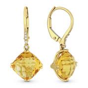 5.14ct Cushion Checkerboard Citrine & Diamond Dangling Earrings in 14k Yellow Gold - AM-DE11868