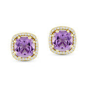 2.23ct Cushion Cut Amethyst & Diamond 8-Prong Square-Halo Stud Earrings in 14k Yellow Gold -  AM-DE11512Y