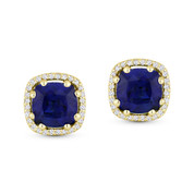 2.68ct Cushion Cut Lab-Created Blue Sapphire & Round Diamond 8-Prong Square-Halo Stud Earrings in 14k Yellow Gold - AM-DE11800