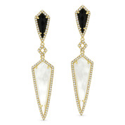 Mother-of-Pearl, Black Onyx, & 0.44ct Diamond Pave Dangling Earrings in 14k Yellow Gold - AM-DE11411