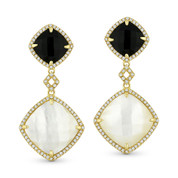 Mother-of-Pearl, Black Onyx, & 0.40ct Diamond Pave Dangling Earrings in 14k Yellow Gold - AM-DE11412