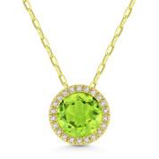 1.41ct Round Cut Peridot & Diamond Halo Pendant & Chain Necklace in 14k Yellow Gold - AM-DN5304