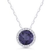 1.65ct Round Cut Synthetic Alexandrite & Diamond Halo Pendant & Chain Necklace in 14k White Gold - AM-N1041AXW