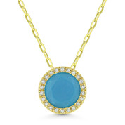 1.70ct Round Cut Blue Turquoise & Diamond Halo Pendant & Chain Necklace in 14k Yellow Gold - AM-N1041TQY