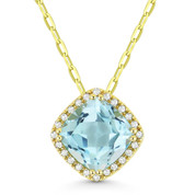 1.94ct Cushion Cut Blue Topaz & Round Diamond Halo Pendant & Chain Necklace in 14k Yellow Gold - AM-DN5386