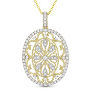 0.59ct Round Cut Diamond Vintage-Style Pendant & Chain Necklace in 14k Yellow & White Gold - AM-DN4767
