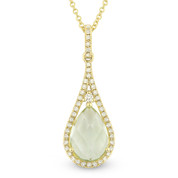 1.90ct Green Amethyst & Diamond Tear-Drop Halo Pendant & Chain Necklace in 14k Yellow Gold