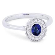 0.58ct Oval Cut Sapphire & Round Brilliant Cut Diamond Flower Statement Ring in 14k White Gold - AM-DR13429