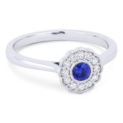 0.31ct Round Brilliant Cut Sapphire & Diamond Flower Statement Ring in 14k White Gold - AM-DR13430