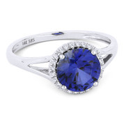1.77ct Round Brilliant Cut Lab-Created Sapphire & Diamond Halo Promise Ring in 14k White Gold - AM-DR13456