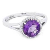 1.22ct Round Brilliant Cut Amethyst & Round Diamond Halo Promise Ring in 14k White Gold - AM-DR13457