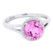 1.80ct Round Brilliant Cut Lab-Created Pink Sapphire & Diamond Halo Promise Ring in 14k White Gold - AM-DR13459