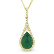 1.86ct Green Agate & Diamond Tear-Drop Halo Pendant & Chain Necklace in 14k Yellow Gold