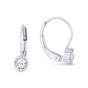 0.31 ct White Topaz Gem & Diamond Leverback Baby Earrings in 14k White Gold - AM-DE11533