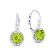1.52 ct Green Peridot Gem & Diamond Leverback Baby Earrings in 14k White Gold - AM-DE11536