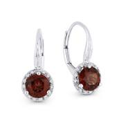 1.75ct Garnet Gem & Diamond Leverback Baby Earrings in 14k White Gold - AM-DE11538