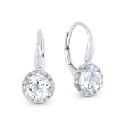 1.67 ct White Topaz Gem & Diamond Leverback Baby Earrings in 14k White Gold - AM-DE11539