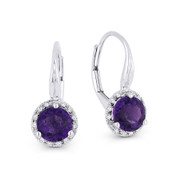 1.45 ct Purple Amethyst Gem & Diamond Leverback Baby Earrings in 14k White Gold - AM-DE11540